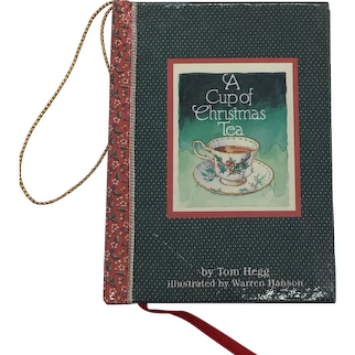 Vintage 1982 A Cup Of Christmas Tea Miniature Book Ornament