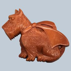 Vintage Early Plastics Rust Colored Scottie Pin