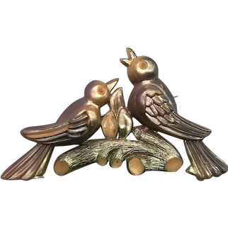 Vintage Art Deco Celluloid Figural Pastel Birds On a Branch Pin