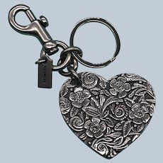 Retired Vintage Metal Coach Heart Key Chain