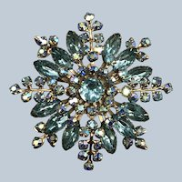 Vintage Unsigned Beaujewels 1950's Large Turquoise and Ice Blue Rhinestone Pin