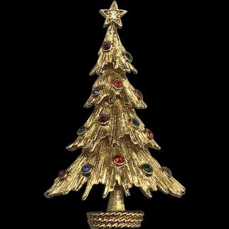 Vintage Monet Rhinestone Christmas Tree Pin