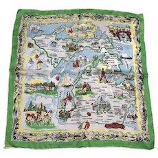Vintage 1950's Silk Hand Rolled Michigan The Wolverine State Souvenir Handkerchief Great Graphics