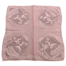 Vintage Victorian Style Pink Romantic Hankie