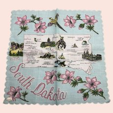 Vintage South Dakota Souvenir Cotton Hankie With Tag