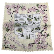 Vintage Arkansas Cotton Memorabilia Souvenir Hankie