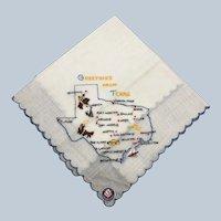 Vintage Texas Klauber Cotton Embroidered Souvenir Hankie