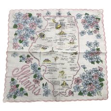 Vintage Illinois Souvenir Cotton Hankie