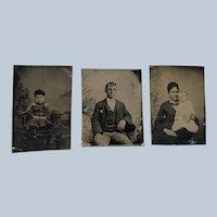 Vintage Set of Three Tin Family Photo Set