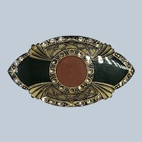 Vintage French Designer Catherine Popesco Enamel Art Deco Design Pin