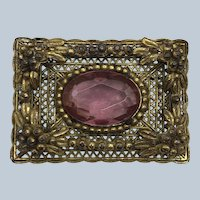 Vintage Art Deco Brass Dimensional Pin With Pink Glass Stone