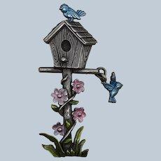 Vintage JJ Jonette Metal Birdhouse Pin With Birds