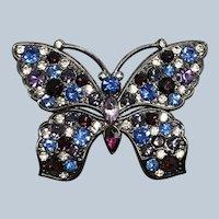 Vintage Beautiful Monet Rhinestone Butterfly Pin