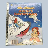 Vintage 1990 First Edition Alvin and the Chipmunks Alvin's Daydreams Little Golden Book