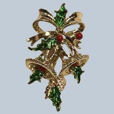 Vintage Gerrys Christmas Bells Pin