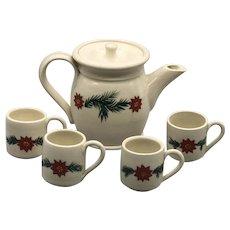 Vintage 1994 Mill Creek Stoneware Miniature Christmas Poinsettia Teapot Set With Mugs