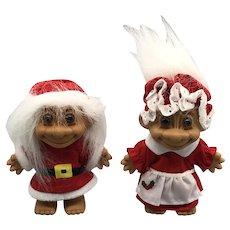 Vintage Russ Berrie Christmas Santa Mrs. Claus, and Elf Troll Dolls