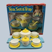 Vintage 1981 Fisher Price Tea Set & Tray Number 681 With Box