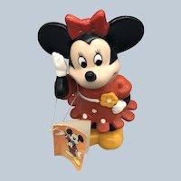 Vintage Plastic Walt Disney Minnie Mouse Bank With Tag