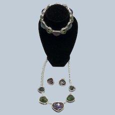Vintage Napier Necklace Bracelet Pierce Earring Set