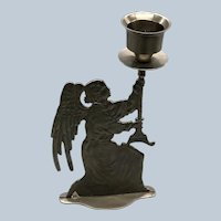 Vintage Large Pewter Angel Candleholder Made In India