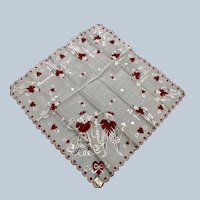 Vintage Rare 1950's Burmel King And Queens Cotton Valentine Hankie With Tag Shown In Vogue Magazine