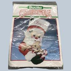 Vintage 1990's Bucilla Christmas Stocking Santa And Bear Craft Kit NOS