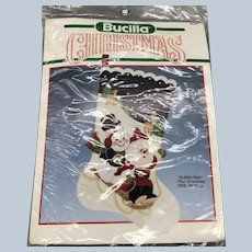 Vintage 1990's Bucilla Christmas Stocking Sleigh Ride Felt Stocking Unopened Kit