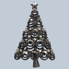 Rare Vintage Black  PAKULA Faux Hematite Pewter Christmas Tree Pin