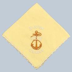 Vintage Silk World War II Handkerchief U.S. Navy In Yellow