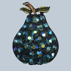 Vintage Aurora Borealis  Glass Teal Blue AB Jappanned Figural Pear Pin