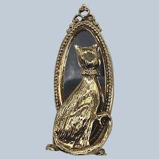 Vintage Figural Gold Tone Cat Mirror Pin