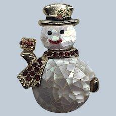 Vintage LC Liz Clairborne Christmas Crackled Rhinestone Snowman Pin