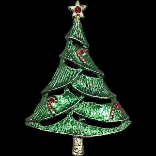 Vintage BJ Beatrix Enamel Christmas Tree Pin