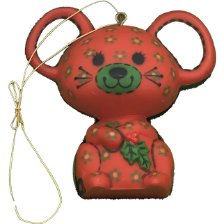 Vintage 1978 Hallmark Red Calico Mouse Christmas Ornament With Original Box