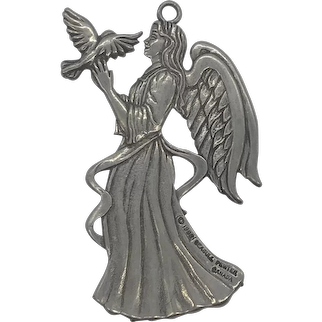 1988 Seagull Pewters & Silversmiths Canada Angel Ornament With Packaging