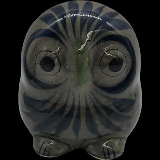 Vintage Tonala Mexican Pottery Owl Figurine