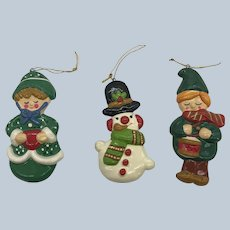 1970's Hand Made Korea Christmas Ornaments Set Of Three With Label
