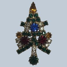 Vintage Colorful Prong Set Rhinestone Christmas Tree Pin
