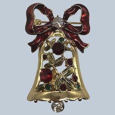 Vintage Villager Liz Clairborne Rhinestone Christmas Bell Pin NOS