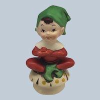 Vintage Lefton Pixie Elf Sitting On A Mushroom Figurine
