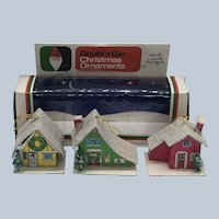 Vintage Double Glo Paper Novelty Company Decorative Litho Paper Putz Houses Complete With Box