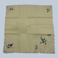 Vintage Yellow Scalloped Glamour Girl Switzerland Cotton Handkerchief With Label