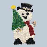 Vintage 1970's Christmas Melted Plastic Popcorn Snowman Wall Decor