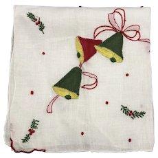 Vintage Cotton Christmas Embroidered Bells Handkerchief