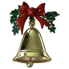 Vintage Enamel Christmas Bell With Rhinestone Ringer Pin