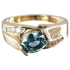 Blue Zircon and Diamond Ring / 14k Yellow Gold