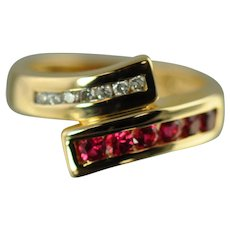 Spinel and Diamond Bypass Ring / 14k Yellow Gold