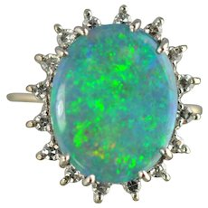 Opal and Diamond Ring / 14k White Gold