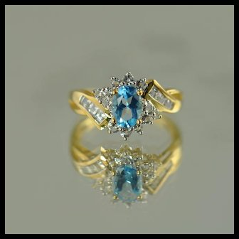 Blue and White Topaz Ring / 10k Yellow Gold